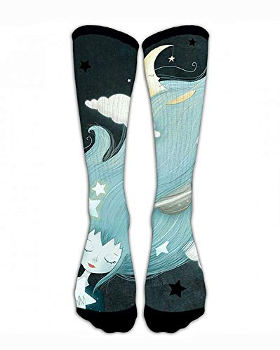 Men & Women Classics Crew Socks Girl with Galaxy Planets Hair Funny Crazy Unique Thick Warm Cotton Crew Winter Socks Personalized Gift Socks