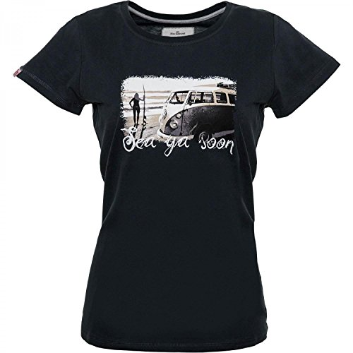 Damen T-Shirt Van One VW Bulli »SEA YA SOON« Black / Grey Black / Grey
