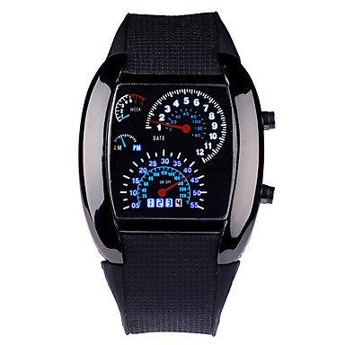 Lemumu LED cruscotto versione Auto promozionale guarda il settore sport uomini aviazione da polso orologio a LED,Nero
