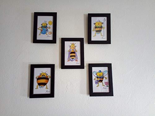 La abeja reina, la recolectora, el zángano, este conjunto de cinco láminas...