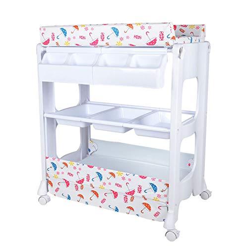 Wickeltische kommoden Baby Wickeltisch Station und Badewanne Einheit, Kleinkinder Massage Bett, tragbare Wechsler Baby Lager Kommode mit Rädern -