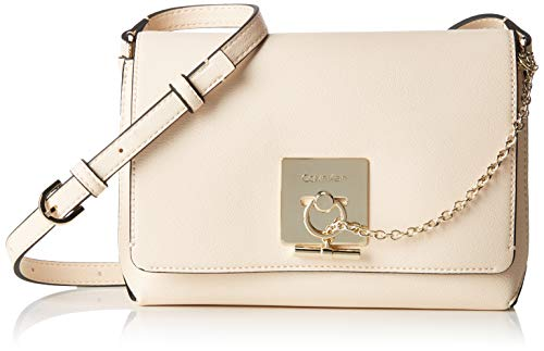 13 Light Mini-anhänger (Calvin Klein Damen Ck Lock Med Flap Crossbody Umhängetasche, Grau (Light Sand), 7.5x13x21 cm)
