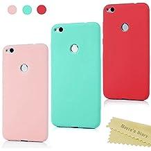 Huawei P8 Lite 2017 Funda Carcasa Silicona Gel Goma Flexible - Mavis's Diary Case Ultra Delgado TPU Cover Protectora para Huawei P8 Lite 2017 - Roja+Rosa+Verde menta