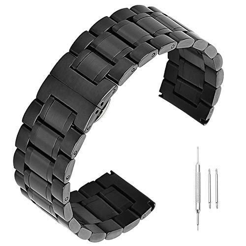 0mm 21mm 22mm 23 24mm Premium massiver Edelstahl-Uhrenarmband Ersatz schwarz ()