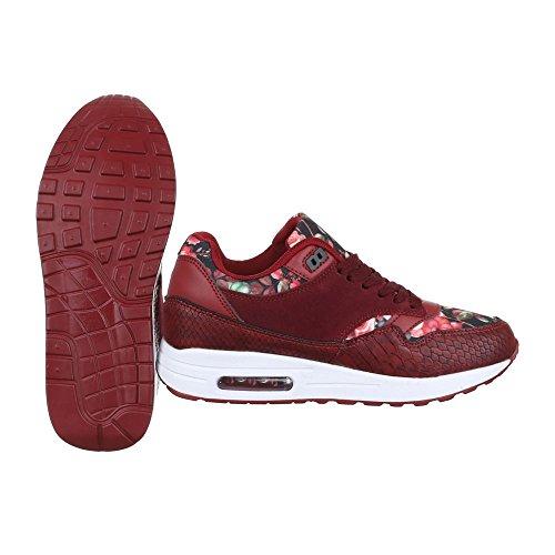 Low-Top Sneaker Damenschuhe Low-Top Sneakers Schnürsenkel Ital-Design Freizeitschuhe Rot