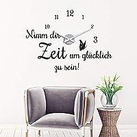 """Wandtattoo Uhr /""""Genießer Lounge/"""" Wandaufkleber Wanduhr Retro Küchenuhr"""