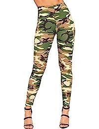 Damen Camouflage Haremhose Hohe Taille Militär Cargo Heer Sport Lange Stoffhose