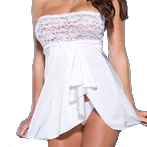 Oliviavan Dessous,Frauen Dessous Babydoll Wrap Brust Unterwäsche Spitzenkleid + G-String Nachtwäsche Kleid Dessous Unterwäsche für Damen mit Panties Schwarz