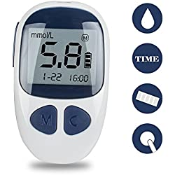 Denshine - Medidor de glucosa en sangre portátil con 50 tiras y 50 lancetas, sin codificación