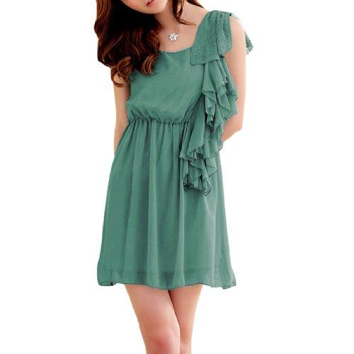 Damen U-ausschnitt Ärmellos Gummibund Stecker Dekor Tänzelnder Kurzes Kleid Grün
