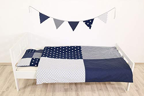 ULLENBOOM ® Kinderbettwäsche Blaue Sterne (2tlg. Bettset: Kissenbezug 40x60 cm & Bettdeckenbezug 100x135 cm, mit Patchworkkissen) (Bettwäsche Kinderbett)