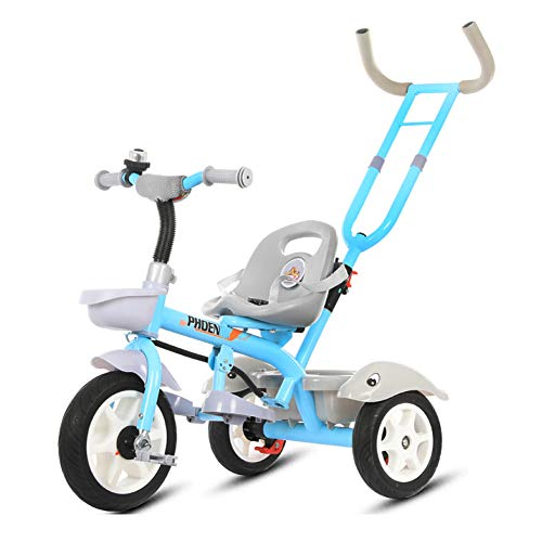 GSDZSY - Child Tricycle With Removable Push Handle Bar, Adjustable Seat And Seat Belt, Shock Absorption EVA Wheel,Folding Footrest,1.5-6 Years,H  GSDZSY