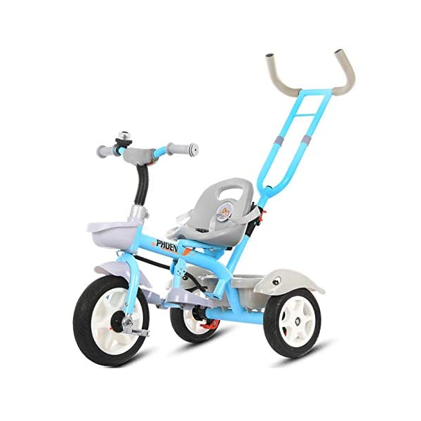 GSDZSY - Child Tricycle With Removable Push Handle Bar, Adjustable Seat And Seat Belt, Shock Absorption EVA Wheel,Folding Footrest,1.5-6 Years,H GSDZSY  1
