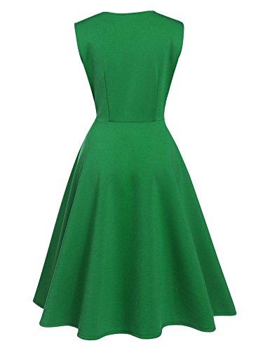 ZEARO Damen Casual A-line Kleid Cocktailkleid Partykleid Strandkleid Sommerkledi Abendkleid Grün