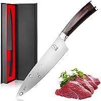 Deik Couteau de Chef, Couteau de Cuisine de 20cm Avec Acier Inoxydable 1,4116 Importé, de Catégorie Professionnelet et Super Pointu Avec la Poignée en Bois de Classe Ergonomique