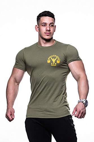 953956db Muscle Works Gym T-Shirt für Training Shirt Khaki für, Khaki, XXL