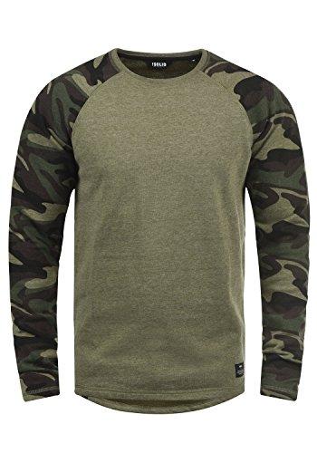 !Solid Cooper Herren Sweatshirt Pullover Pulli Baseball-Sweatshirt Mit Rundhals Und Camouflage-Ärmeln Aus 100% Baumwolle, Größe:L, Farbe:Hibis Mel (8784) Baseball-sweatshirt