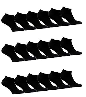 12 bis 60 Damen Herren Sneaker Socken Sport Füßlinge Baumwolle Schwarz Weiß trendige Farben 35-38 ; 39-42 ; 43-46 (35-38, Schwarz 24 Paar)