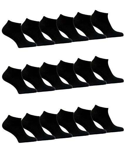 BestSale247 12 Paar Damen Sneaker Socken Füßlinge Baumwolle 35-38 ; 39-42 (39-42, Schwarz / 12 Paar)