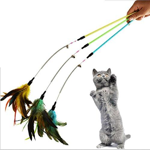 Laser Pet Toy (1Niedliches Hochwertige Pet Kitten Cat Teaser Interaktive Spielzeuge Stick Zauberstab, Angelrute Katze Spielzeug mit Glocke und Federn Farbe zufällige)