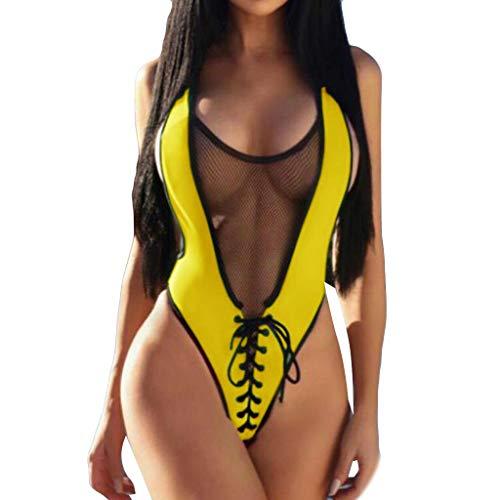 QingJiu Frauen Jumpsuit Push-Up Gepolsterter BH Sport Strand Bikini Einteilige Badebekleidung(Gelb,Medium)