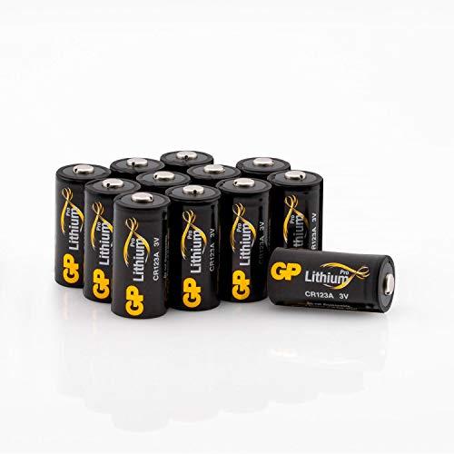 GP Lithium CR123A Batterien Pro Schwarz-Gold (12 Stück) 3 Volt (3V) für Smart Home, Alarmanlagen, Taschenlampen, etc.