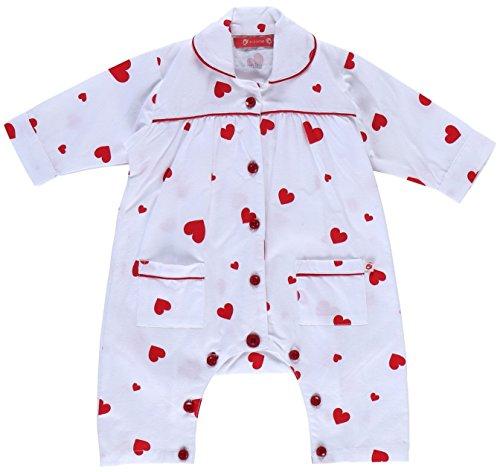 Piccalilly Coton Bio Rouge et Blanc bébé Fille de Noël Cœur Grenouillère - Blanc - Nouveau-né
