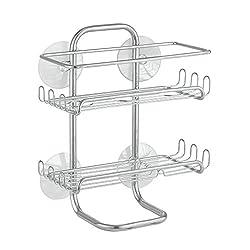 InterDesign Classico Bathroom Suction Shower Shelves, Silver