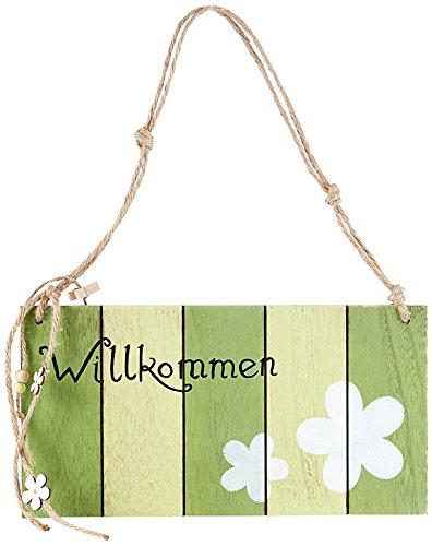 (Heitmann DECO Frühlingshaftes Türschild Willkommen! aus Holz mit Kordel Zum Aufhängen - Dekoration für Tür und Wand)