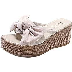 Zapatos de Tacon Mujer Fiesta, Zapatos con escándalo con cuñas Butterfly-Knot Wedges (Negro,Amarillo,Rosado,Beige) con 7cm/2.7 Pulgadas, 35/36/37/38/39/40 EU