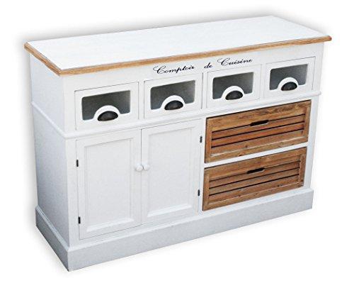 KMH®, Küchensideboard Alsace mit 2 Holzkörben und 4 Schubladen im Vintage-Look (#204811)