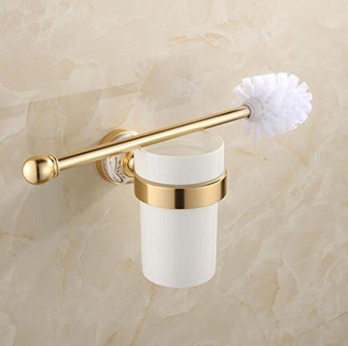 GY&H Porte-balais de toilette en aluminium de l'espace européen bleu et blanc porcelaine or salle de bains racks, WC brosses titulaires ensemble toilette fournitures de nettoyage