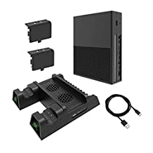 Volwco Vertical Stand with Cooling Fan for Xbox One X/Xbox One S/Xbox One, Xbox ONE X/ONE S/Regular ONE Cooler and Controller Charging Stand with 2 Rechargeable Battery and Games Storage