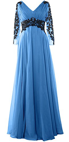MACloth - Robe - Trapèze - Manches Longues - Femme Bleu