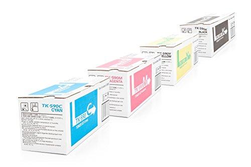 Preisvergleich Produktbild Original Toner passend für Kyocera ECOSYS M 6526 cdn Kyocera TK-590 1T02KV0NL0 - 1T02KVBNL0 - 4x Premium Drucker-Kartusche - Schwarz, Cyan, Magenta, Gelb - 1x7000 & 3x5000 Seiten