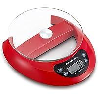 Bonsenkitchen Balance de Cuisine multifonctionnelle numérique pour la Cuisine avec Fonction de Tare et Retrait du Plateau en Verre, 5 kg, système de capteur Haute précision, Rouge (KS8802)