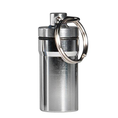 Preisvergleich Produktbild Pillendose Schlüsselanhänger Aluminium Medikamenten Kapsel Pill Fob Pillen Box Aufbewahrungsbox Wasserdicht Maxi von BLISTERLAND Farbe: Silber