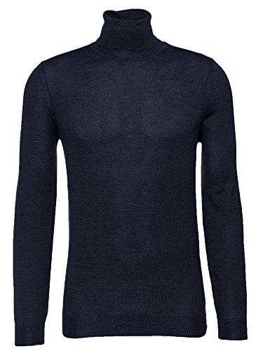 BOSS Rollkragenpullover Musso-N für Herren in Blau (Gerippten Rollkragenpullover Blaue Pullover)
