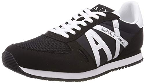 Armani Exchange Herren Lace Up with Logo Sneaker, Schwarz (Black + White 00986), 42 EU