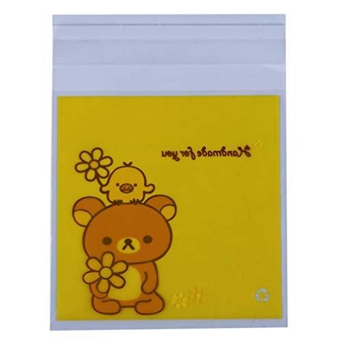 Faliya, set di 100 sacchetti trasparenti autoadesivi a forma di orsetto per biscotti, caramelle, cioccolatini per lecca, sapone, san valentino