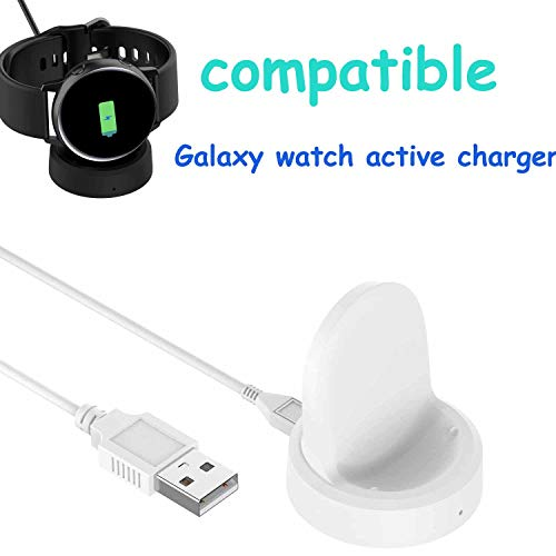 Ruentech Ladekabel Kompatibel mit Samsung Galaxy Watch Active Ladestation Ersatz Ladekabel Station für Galaxy Watch Aktive SM-R500 Gps Sportuhr Ladegerät Linie Zubehör 100 Cm / 3,3 Ft (White)