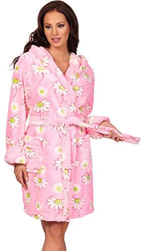 L&L Femmes Peignoir non absorbant avec Capuche Margareth court Rose