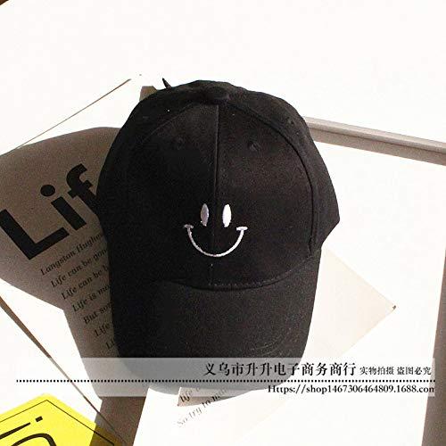 Weiblich Baseball Kostüm - mlpnko Kinder Baseball Hut weibliche Modelle Kappe Smiley Stickerei Sonnencreme Sonne Freizeit Sonnenhut schwarz einstellbar