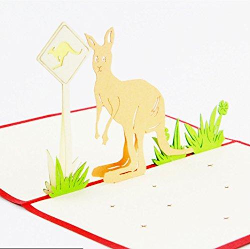 Känguru Fun blanko 3D Pop up Display Jahrestag Karten Display Hochzeit Idee Geburtstag Boy DIY Mädchen Freund Viel Glück Goodbye alle Anlass Baby Grußkarten Graduation