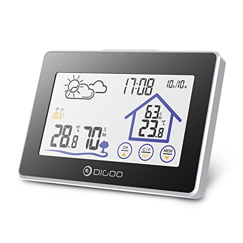 DIGOO Wireless Weather Station, Digital Thermometer Hygrometer Indoor Outdoor, Temperature Humidity Meter with Touch Screen, Weather Forecast for Home