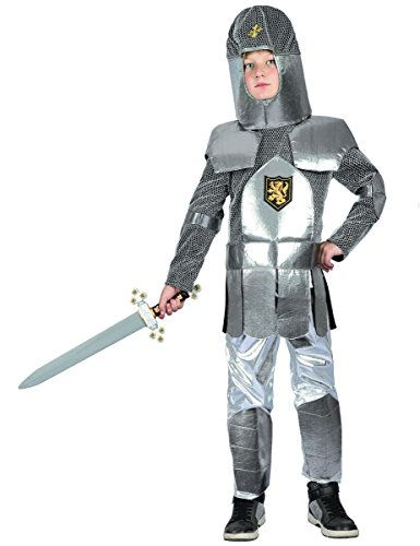 Generique Ritter-Kostüm für Kinder Mittelalter Silber-Grau 122/134 (7-9 - Silber Ritter Kinder Kostüm