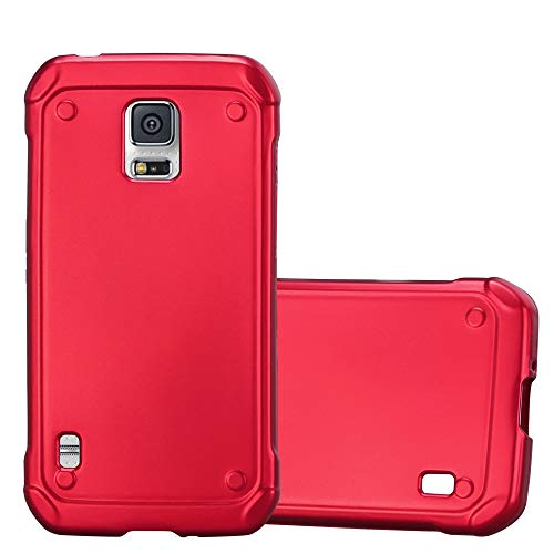 Cadorabo Hülle für Samsung Galaxy S5 Active - Hülle in METALLIC ROT - Handyhülle aus TPU Silikon im Matt Metallic Design - Silikonhülle Schutzhülle Ultra Slim Soft Back Cover Case Bumper (Active Galaxy Für S5 Skin)