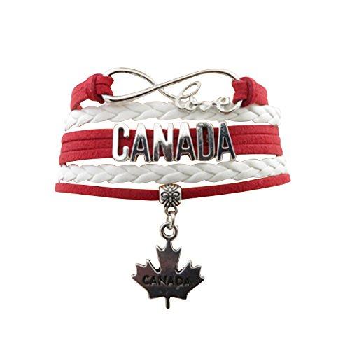 Angepasste Unisex Leder Leder Metall Flagge Armband Armband Manschette (Kanada)