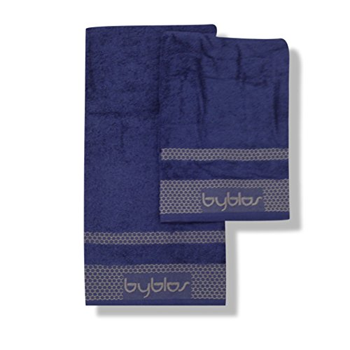 Byblos Derby Set Spugna 2 Pezzi, 100% Cotone, Blu, 60x1x110 cm