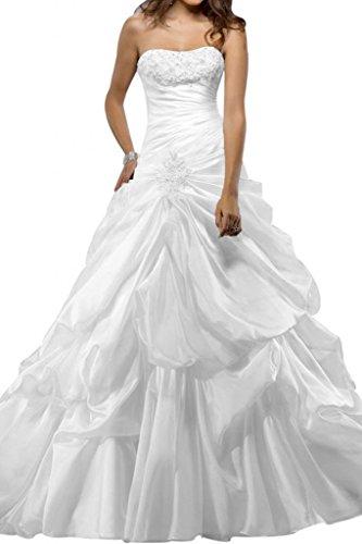 Gorgeous Bride Modisch Lang Traegerlos Prinzessin Taft Spitze Brautkleider Lang Hochzeitskleider -34 Weiss (Taft Brautkleid Meerjungfrau)